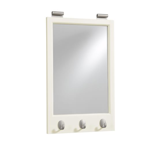 Daily System Framed Mirror with Hooks, White
