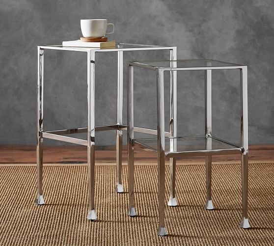 Tanner nesting side tables polished nickel finish