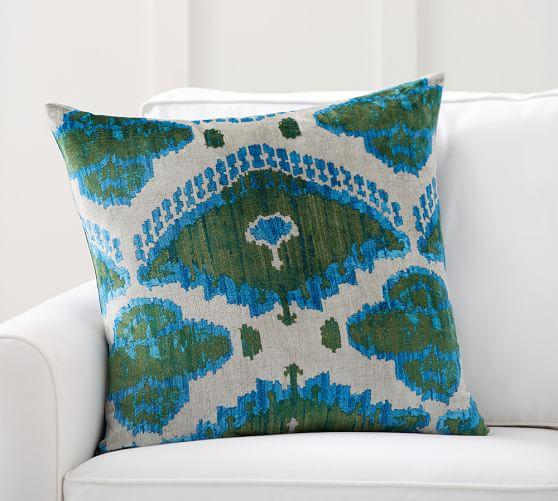 audrey ikat printed velvet pillow cover pottery barn. Black Bedroom Furniture Sets. Home Design Ideas