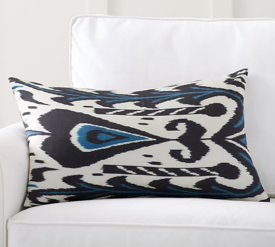 edith ikat print silk lumbar pillow cover pottery barn. Black Bedroom Furniture Sets. Home Design Ideas