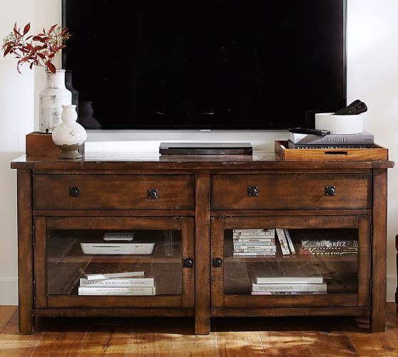 Benchwright tv stand pottery barn for Table tv bois