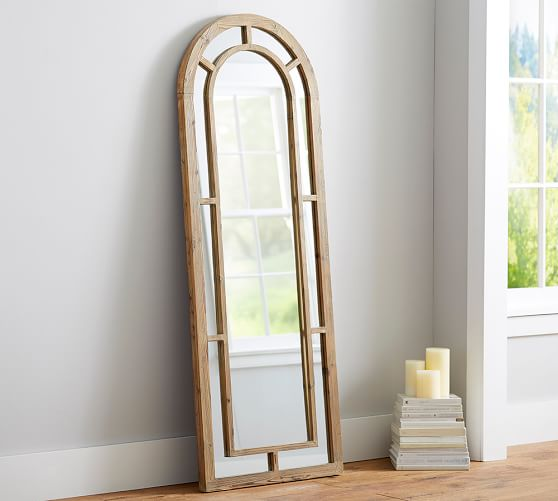 distiller arched wood floor mirror