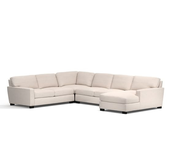Turner square arm upholstered 4 piece chaise sectional for 4 piece sectional with chaise