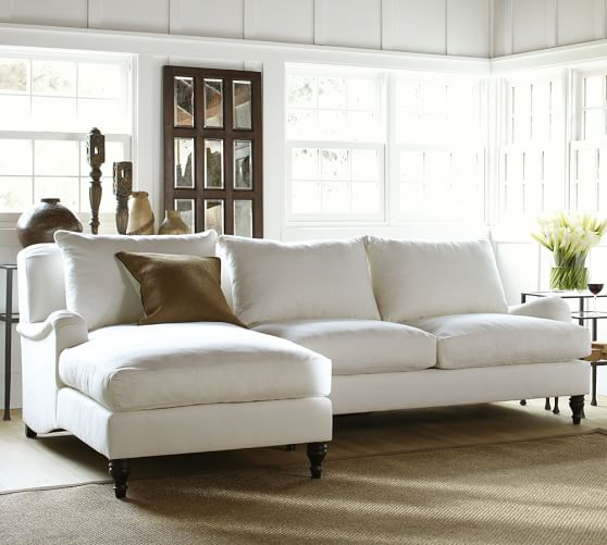 Carlisle upholstered sofa with chaise sectional pottery barn for Small sectional sofa pottery barn