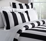 PB Classic Stripe 400-Thread-Count Duvet Cover, Full/Queen, Black