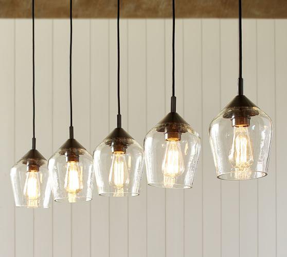 donovan glass 5 light pendant pottery barn. Black Bedroom Furniture Sets. Home Design Ideas