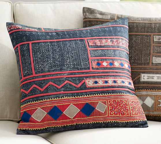 Embroidered Throw Pillows Pottery Barn : Mia Applique Embroidered Pillow Cover Pottery Barn