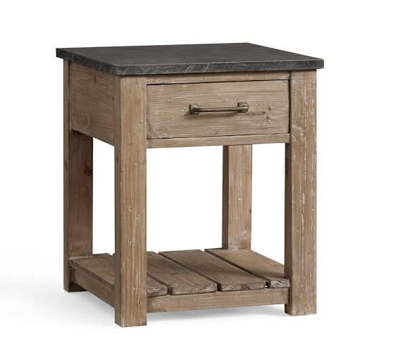 Parker reclaimed wood side table pottery barn for Wood side table