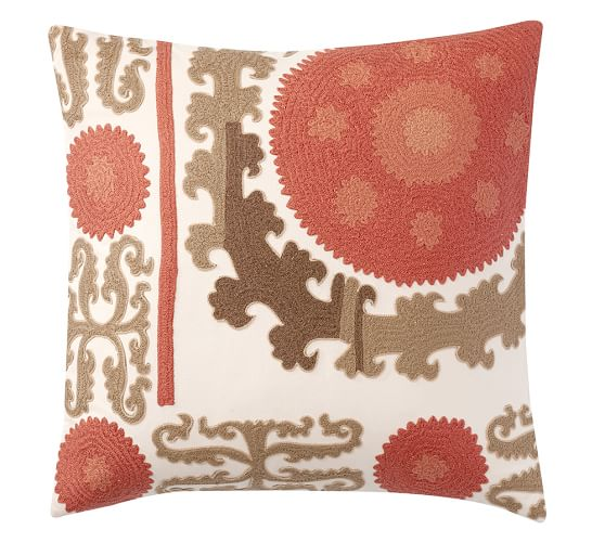 Embroidered Throw Pillows Pottery Barn : Suzani Embroidered Pillow Cover - Warm Pottery Barn