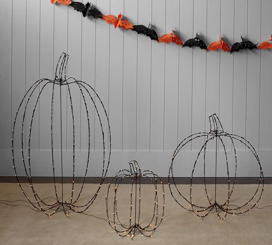 Lit Wire Pumpkins Pottery Barn