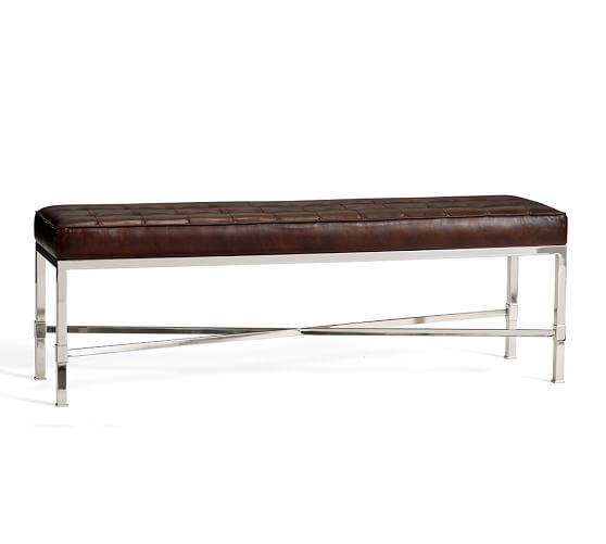 Quinn Tufted Leather Bench Pottery Barn