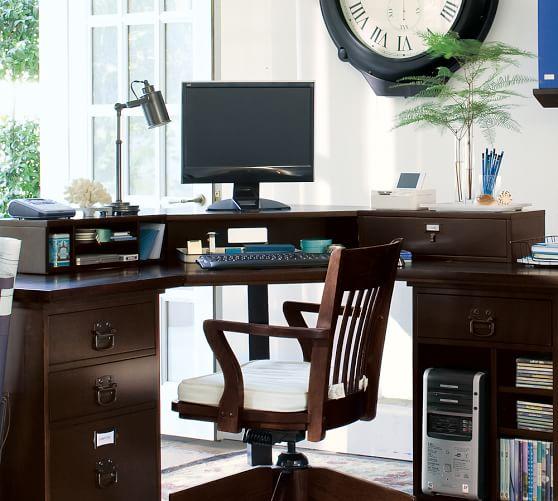 Bedford smart technology corner desk hutch pottery barn - Pottery barn office desk ...