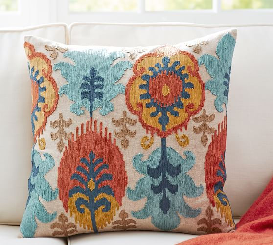leigh ikat embroidered pillow covers pottery barn. Black Bedroom Furniture Sets. Home Design Ideas