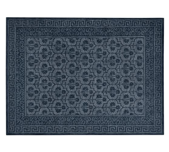 Braylin Tufted Wool Rug, 9x12', Blue