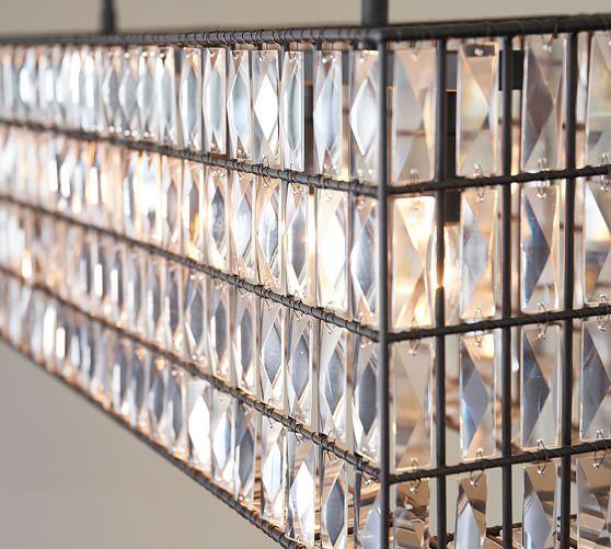 Pottery Barn Veranda Linear Chandelier Installation: Adeline Crystal Rectangular Chandelier
