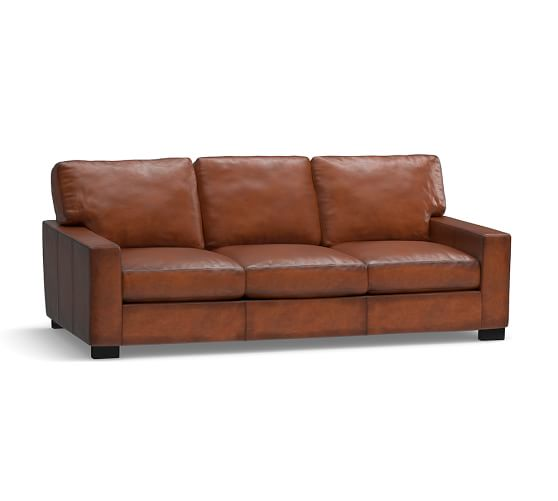 Turner Square Arm Leather Sleeper Sofa Pottery Barn