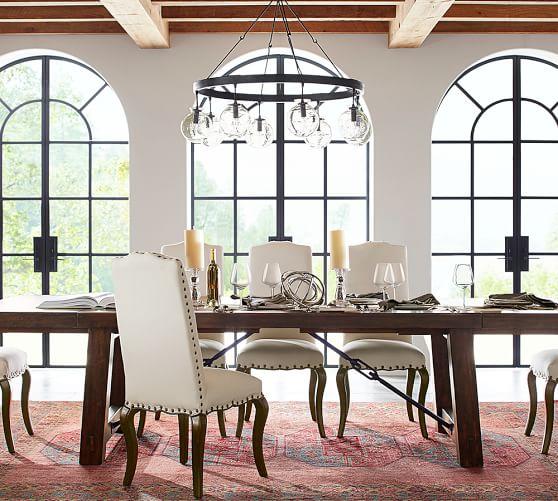 Barrett glass globe chandelier pottery barn for Dining room globe lighting