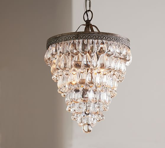 Clarissa crystal drop small round chandelier pottery barn for Select light
