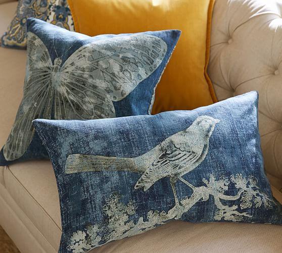 batik bird printed lumbar pillow cover pottery barn. Black Bedroom Furniture Sets. Home Design Ideas