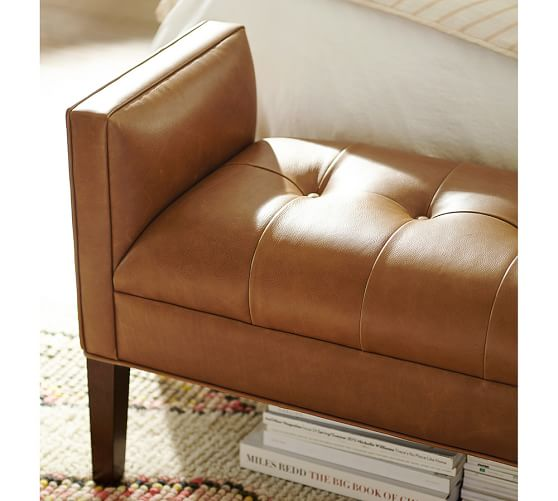 Lorraine Tufted Leather Bench Pottery Barn