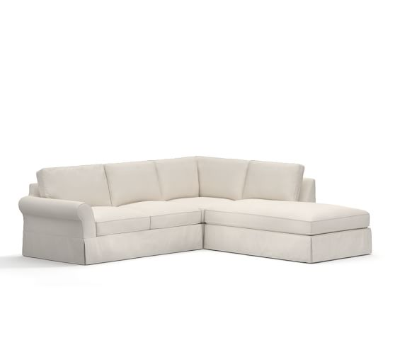 Pb comfort roll arm slipcovered 3 piece bumper sectional for Bartlett caramel left corner chaise sectional