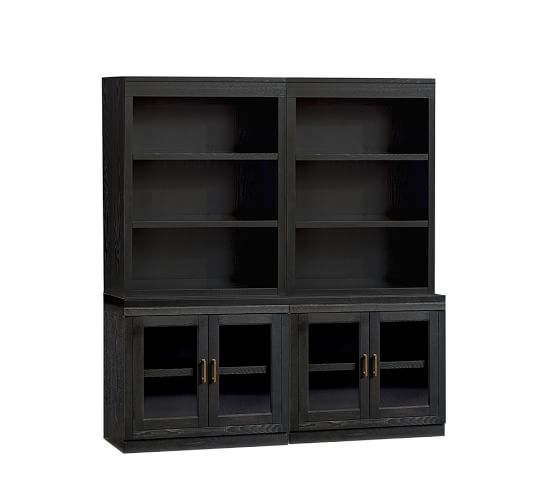 Reynolds Open Bookcase With Glass Door Cabinets Pottery Barn