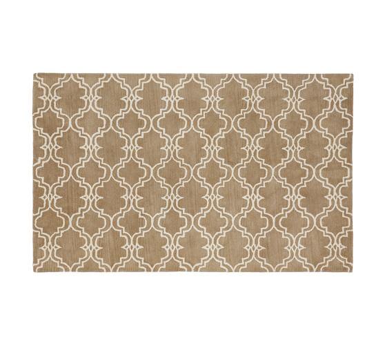 Scroll Tile Rug, 5x8', Mocha/Ivory