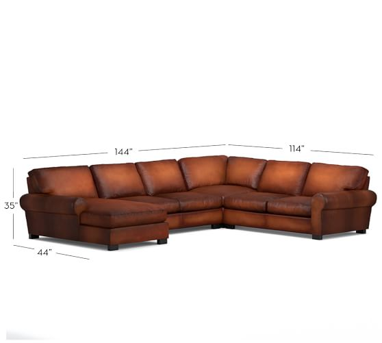 Turner roll arm leather 4 piece chaise sectional pottery for 4 piece sectional with chaise