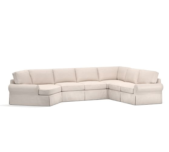 Sale pb basic slipcovered grand 4 piece angled chaise for 4 piece sectional with chaise