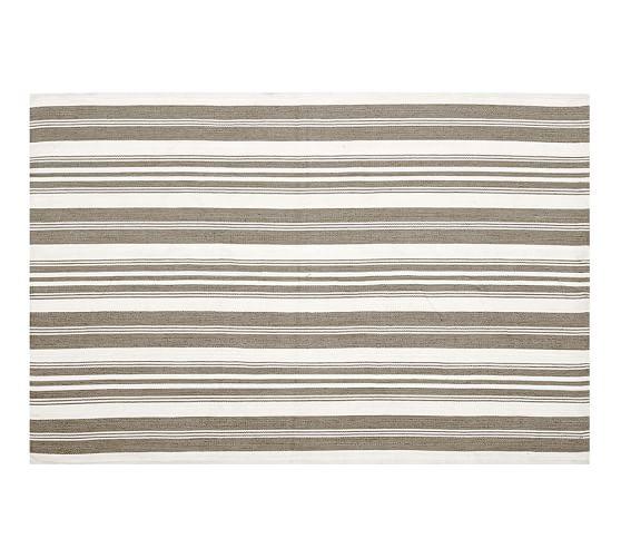Oxford Stripe Recycled Yarn Indoor/Outdoor Rug, 5x8', Gray
