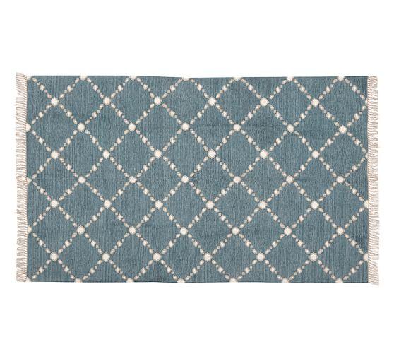 Dot 'N Dash Recycled Yarn Indoor/Outdoor Rug, 5x8', Blue