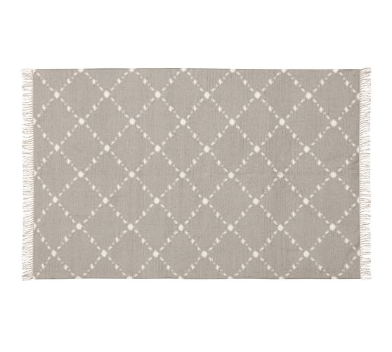 Dot 'N Dash Recycled Yarn Indoor/Outdoor Rug, 5x8', Gray