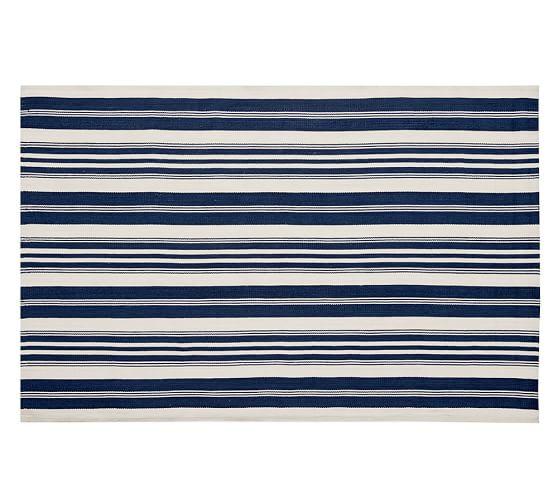 Oxford Stripe Recycled Yarn Indoor/Outdoor Rug, 5x8', Blue