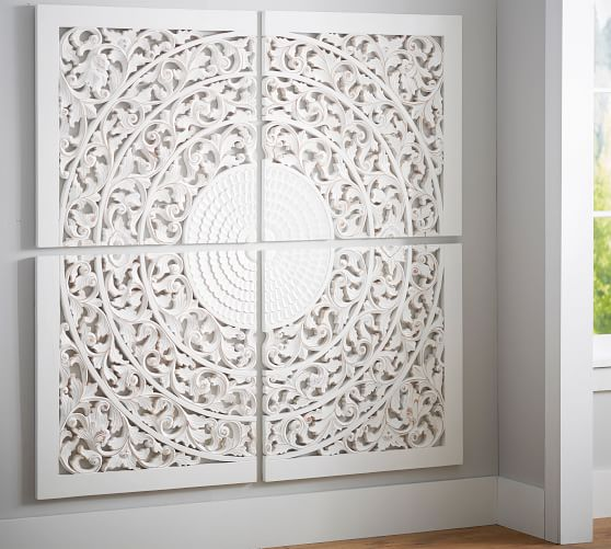 Carved Medallion Wall Art Panels - Set of 4 | Pottery Barn
