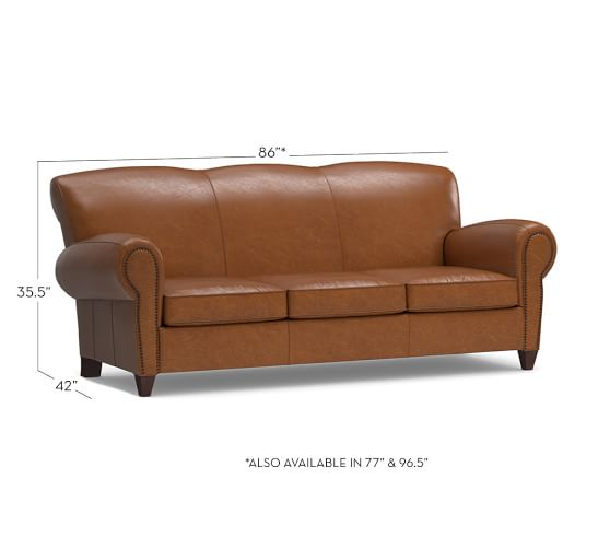 Manhattan Leather Sofa With Nailheads Pottery Barn