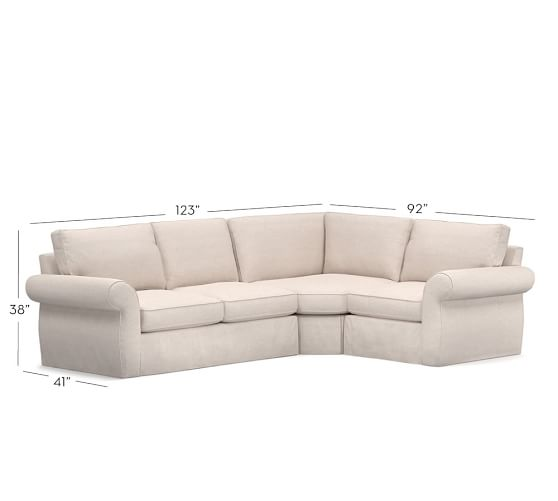 Pearce slipcovered 3 piece sectional with wedge pottery barn for Pearce sectional sofa pottery barn