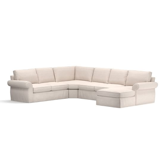 Pearce slipcovered 4 piece chaise sectional with wedge for 4 piece sectional with chaise