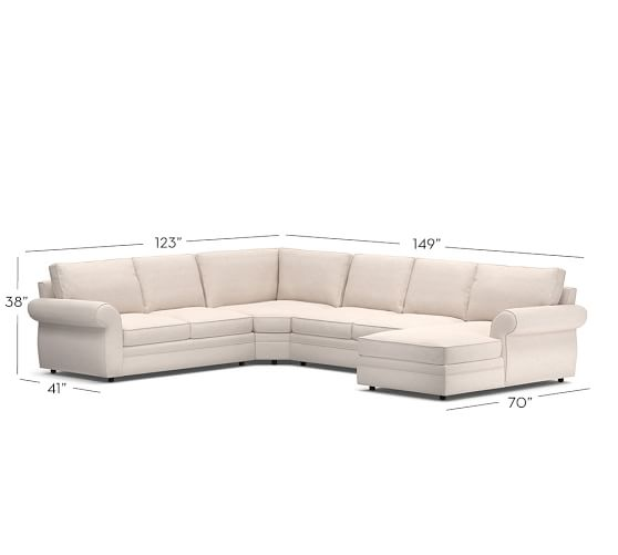Pottery Barn Pearce Sectional With Chaise: Pearce Upholstered 4-Piece Chaise Sectional With Wedge