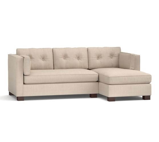 Stewart upholstered sofa with chaise sectional pottery barn for Albany sahara sectional sofa chaise