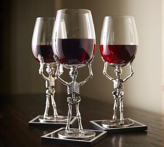 Skeleton Wine Glass Pottery Barn
