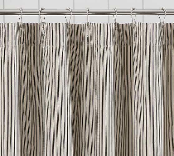 Ticking Stripe Ruffle Shower Curtain Pottery Barn