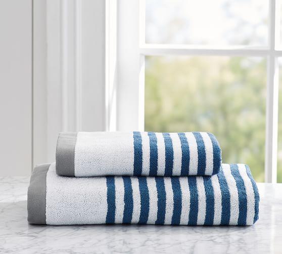Bathroom Towels Striped: Marlo Stripe Organic 600-gram Weight Bath Towels