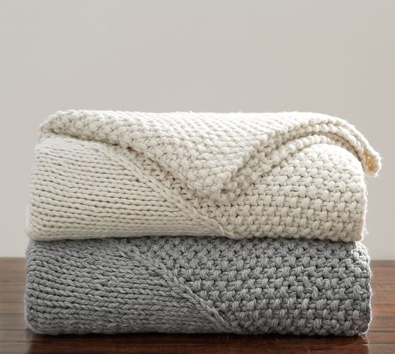 Knitting Pattern For Pottery Barn Throw : Oversized Chunky Diamond Knit Throw Pottery Barn