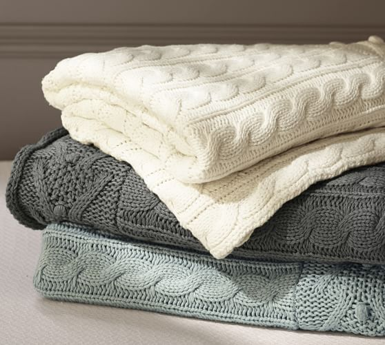 Knitting Pattern For Cotton Throw : Cable Knit Throw Pottery Barn