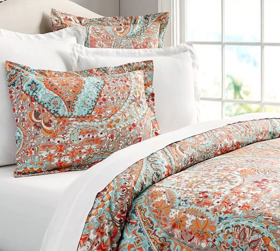Paloma paisley organic duvet cover sham pottery barn for How to change a duvet cover by rolling