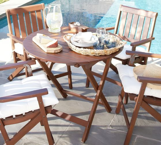 chatham round folding bistro table pottery barn