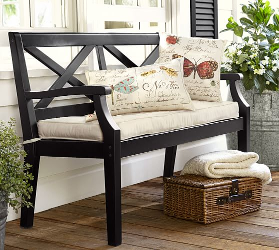 Hampstead painted porch bench black pottery barn for Painted outdoor benches