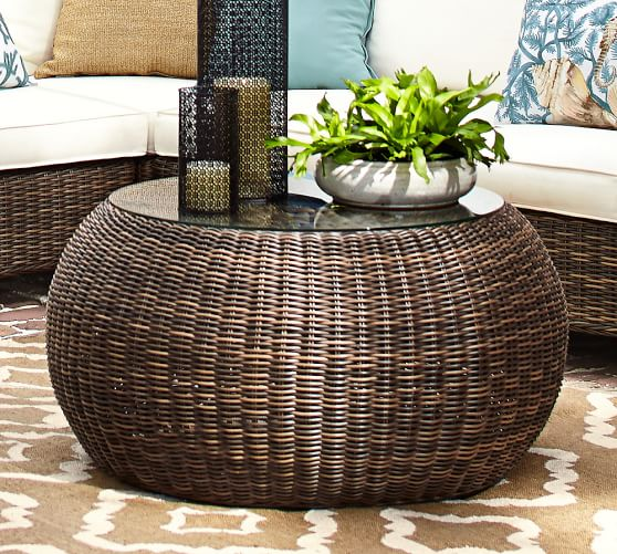 torrey all-weather wicker round coffee table