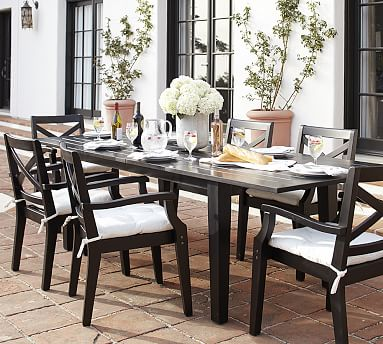 Hampstead Painted Rectangular Extending Dining Table Chair Set Black Pottery Barn