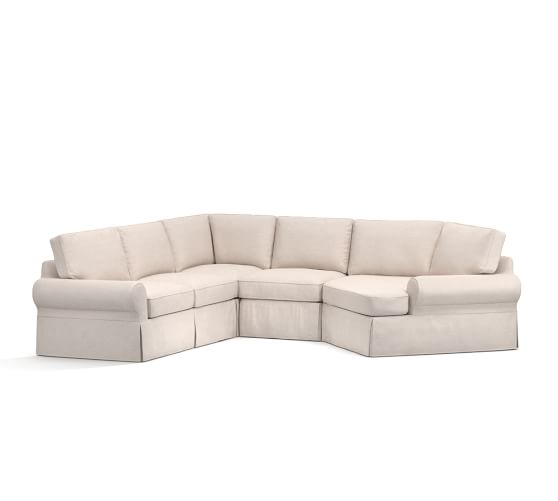 Pb basic slipcovered small 4 piece angled chaise sectional for Sectional sofa with angled chaise